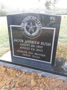 front of headstone